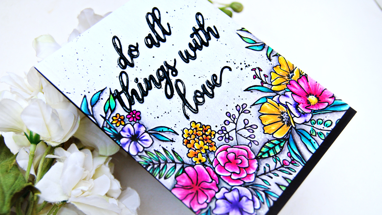 Pinkfresh Studio Fancy Blooms Stamp Set and Do All Things With Love Die | Erum Tasneem | @pr0digy0
