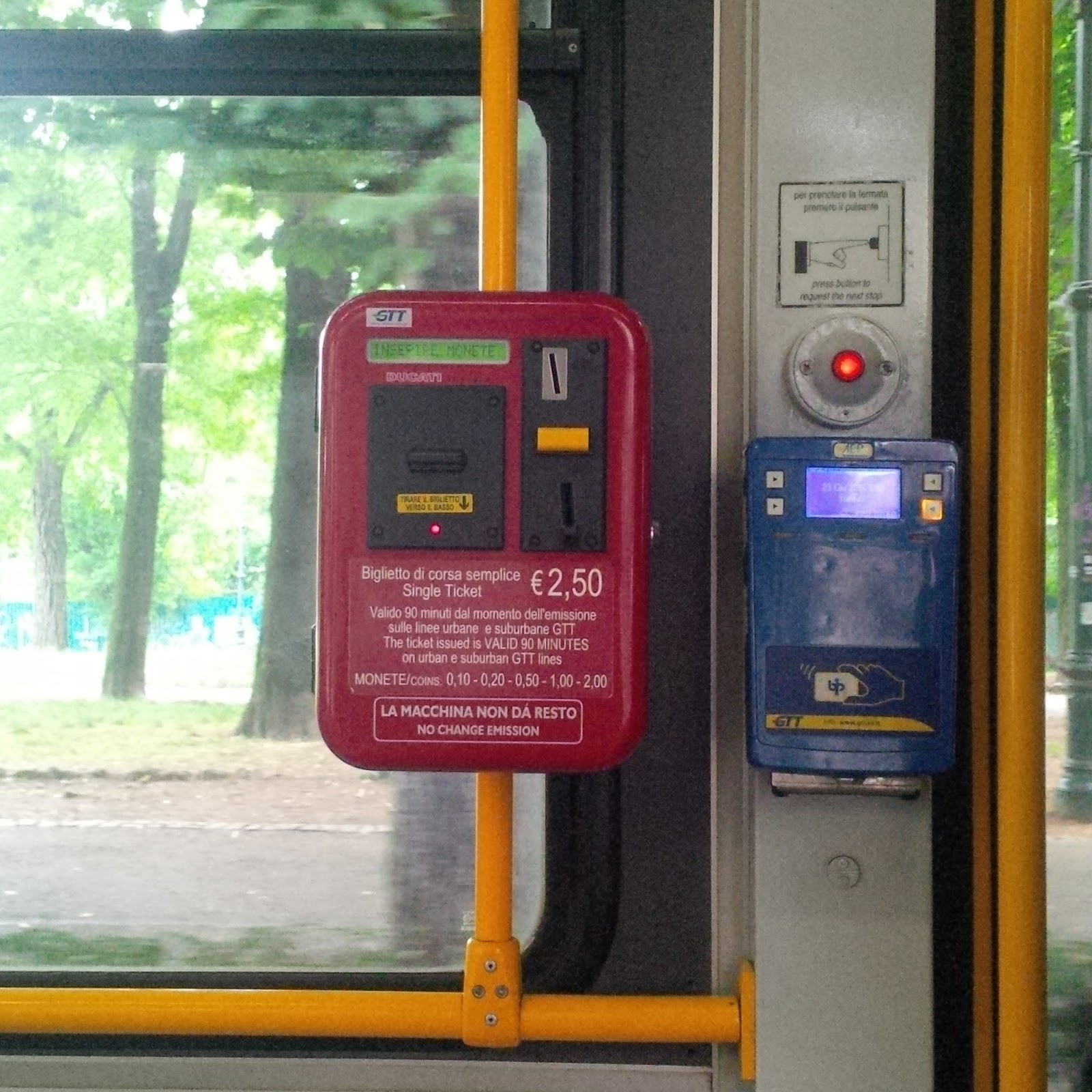 Ticket vending machine on a tram, Turin, Italy