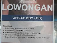 Lowongan Kerja Office Boy PT Ekamant Indonesia
