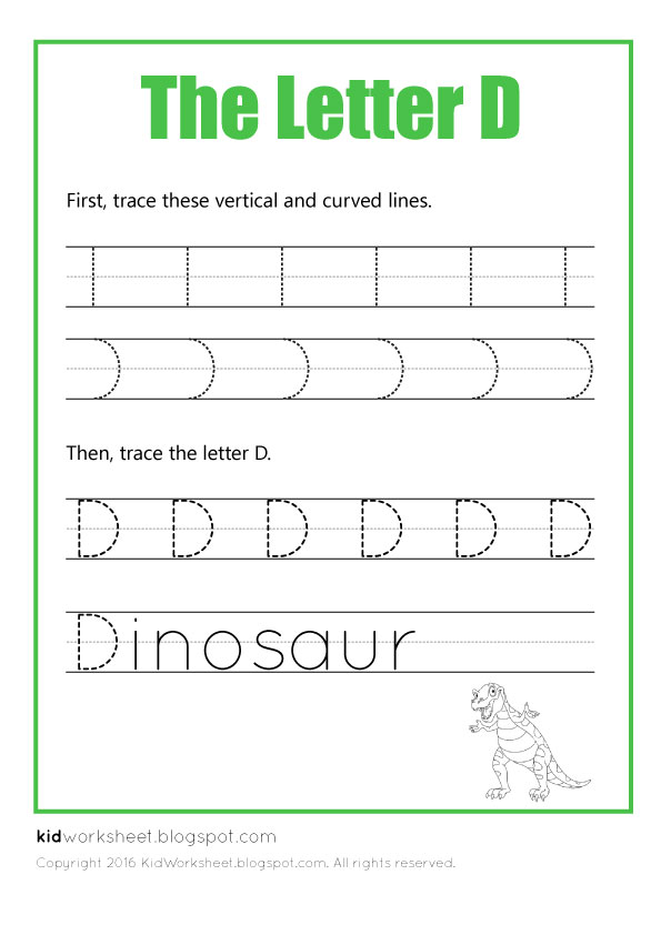 Free Worksheet: Tracing Letter D - Worksheets for Kids