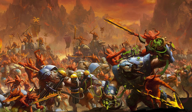 Warhammer age of sigmar khorne bloodletters vs skaven skryre artwork battle ilustration fantasy 1