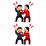 掴み合いの喧嘩のイラスト