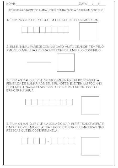 Hipótese de escrita alfabética - Alfabetização - Escreva o nome do animal