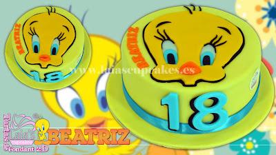 tarta personalizada fondant modelado 2d piolín pretty tweety cumpleaños silvestre laia's cupcakes puerto sagunto