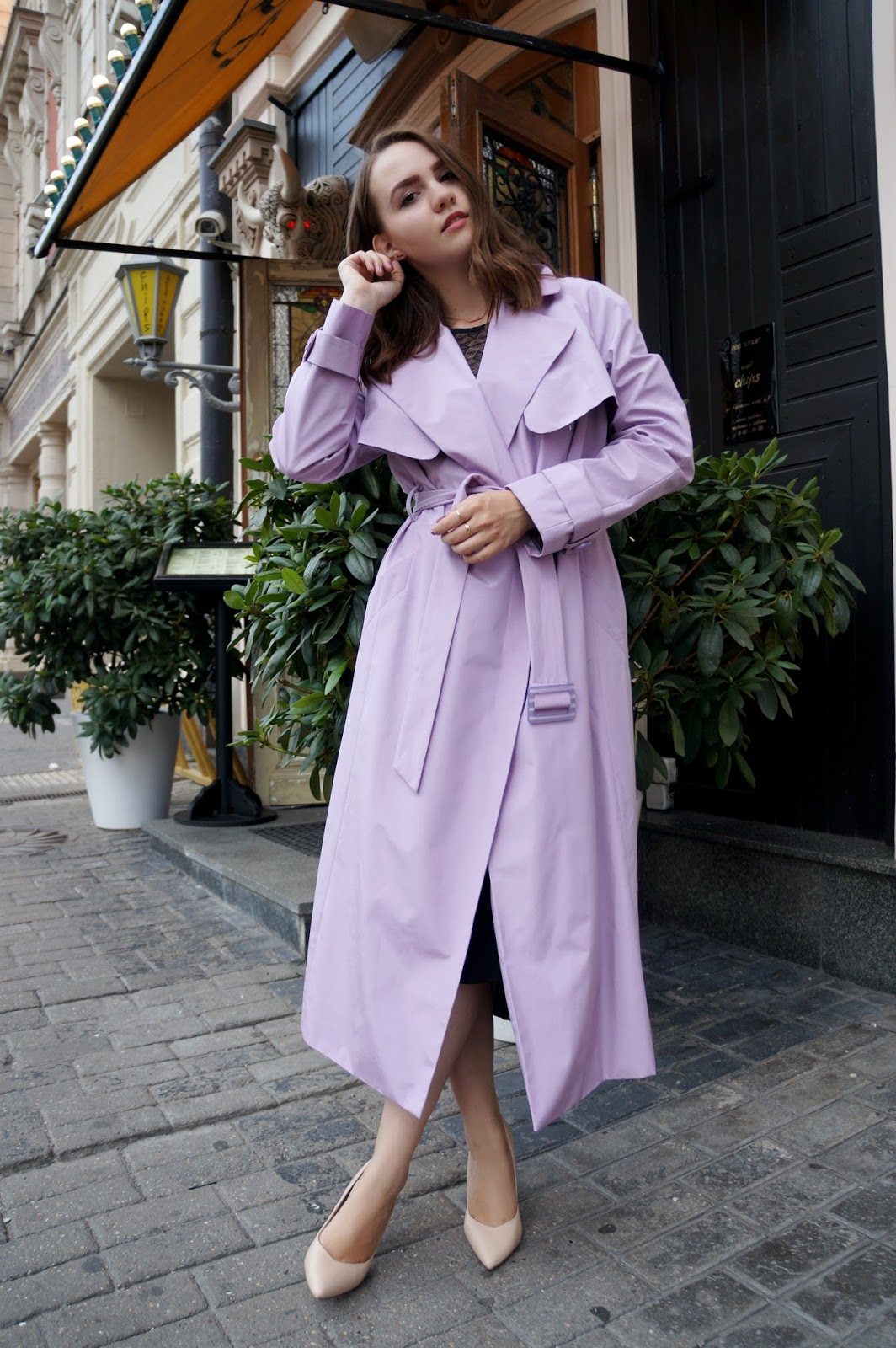 Lavender Trench Coat Outfit