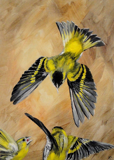 oil painting of siskin