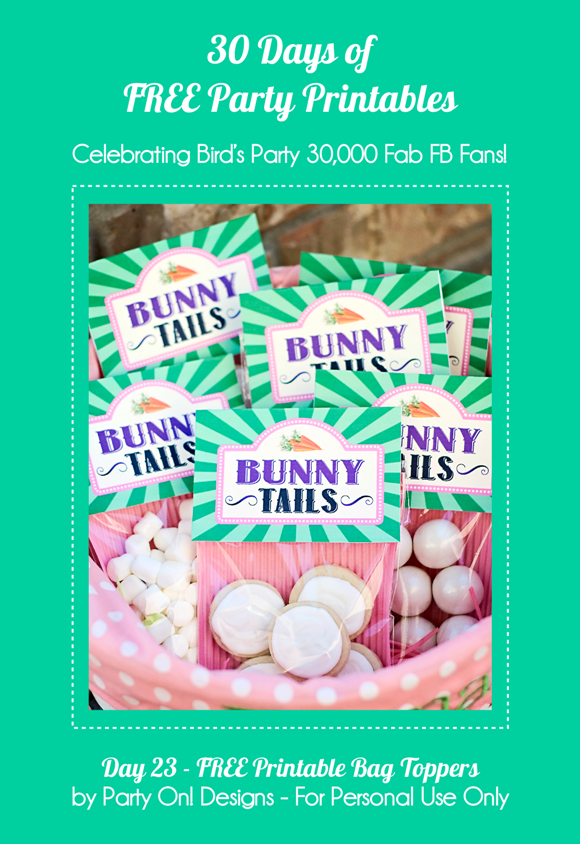 Free Printable Bunny Tails Treat Bag Toppers - via BirdsParty.com