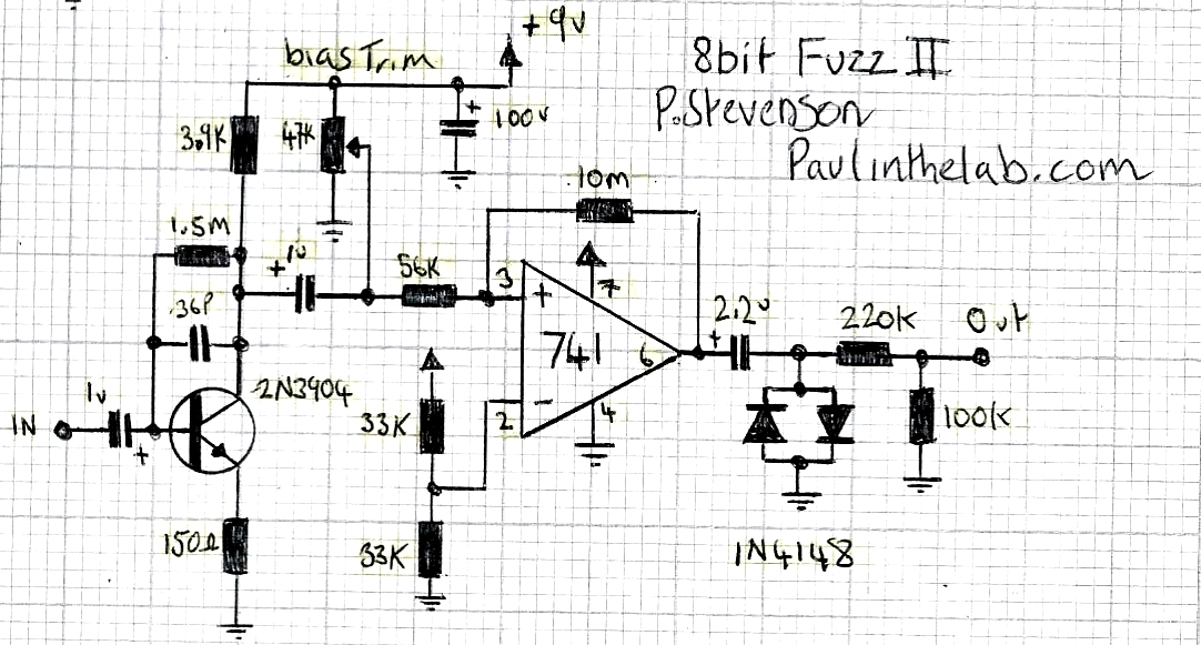 paul in the lab  8 bit guitar fuzz ii effect stripboard