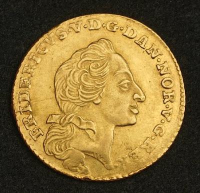Denmark Frederick V 12 Mark Ducat Courant Gold Coin Of