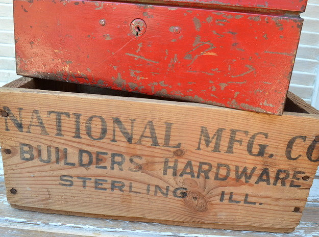 National Mfg. Co. builders hardware crate