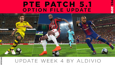 PES 2018 PTE Patch 2018 5.1 Option File Week 4 by Aldivio