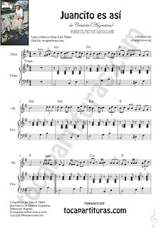 Oboe Partitura de Juancito es así Sheet Music for Oboe Music Score