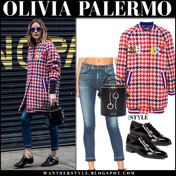 Olivia Palermo in red blue houndstooth jacket katya dobryakova, skinny jeans and black patent oxfords sigerson morrison street style december 2017