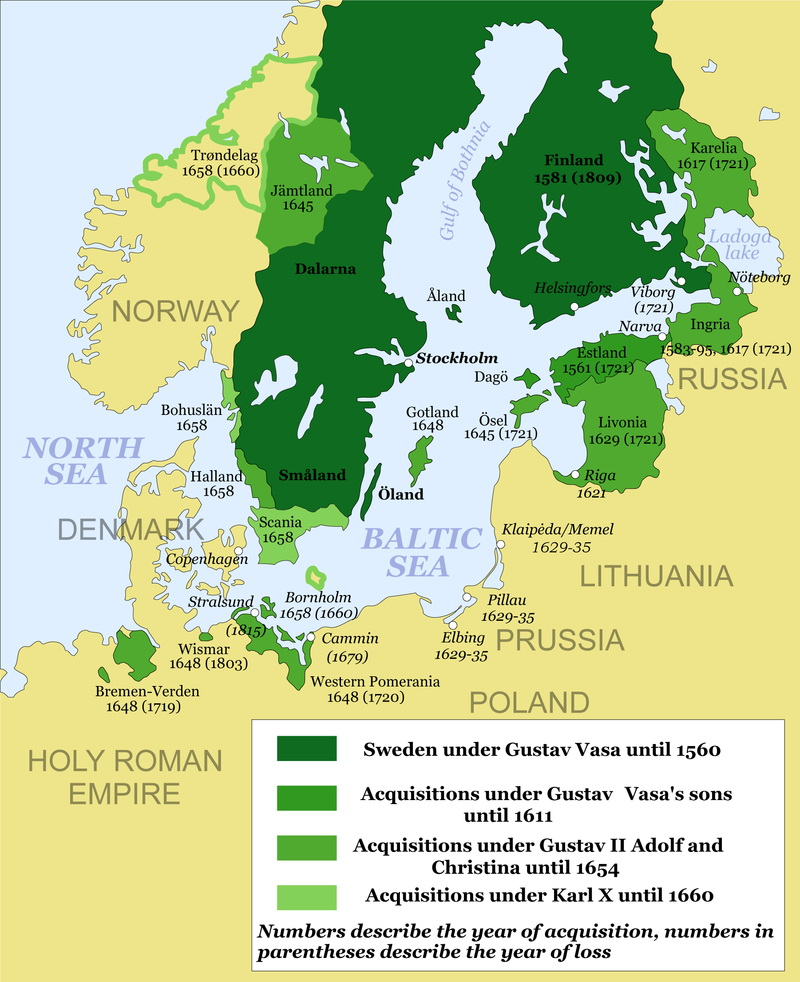 Swedish empire at its largest extent