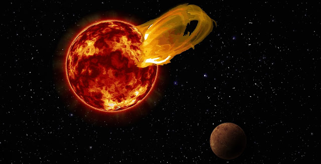 An artist's impression of a flare from Proxima Centauri, modeled after the loops of glowing hot gas seen in the largest solar flares. An artist's impression of the exoplanet Proxima b is shown in the foreground. Proxima b orbits its star 20 times closer than the Earth orbits the Sun. A flare 10 times larger than a major solar flare would blast Proxima b with 4,000 times more radiation than the Earth gets from our Sun's flares. Credit: Roberto Molar Candanosa / Carnegie Institution for Science, NASA/SDO, NASA/JPL