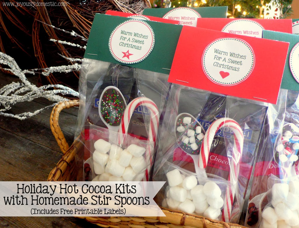 Holiday Hot Cocoa Kits With Homemade Stir Spoons Includes Free Printable Labels
