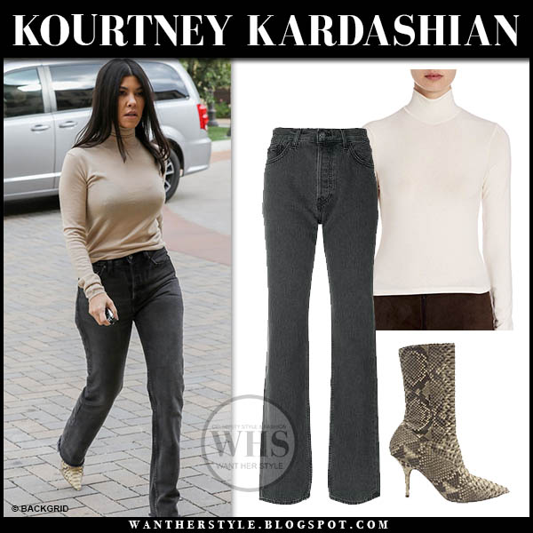 Kourtney Kardashian in beige turtleneck and black yeezy jeans hollywood street style february 1