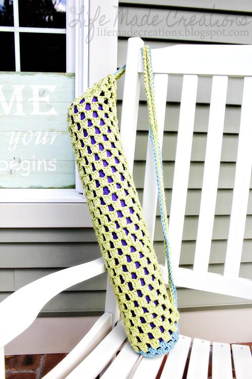 Life Made Creations: crochet yoga mat bag