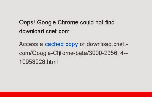 Oooops Google Chrome Could Not Find
