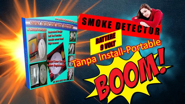 Smoke Detector Portable Pakai Battere 9 volt Alat Deteksi dini Kebakaran