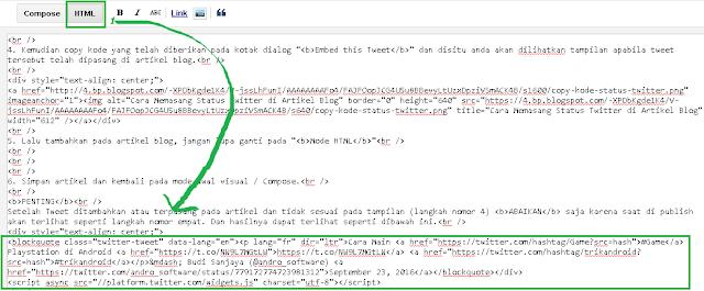 Kode status twitter di artikel blog