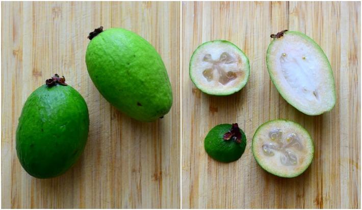 Feijoa. Fruta de forma ovalada y piel de color verde y lisa. Frutas enteras y cortadas para ver su interior.