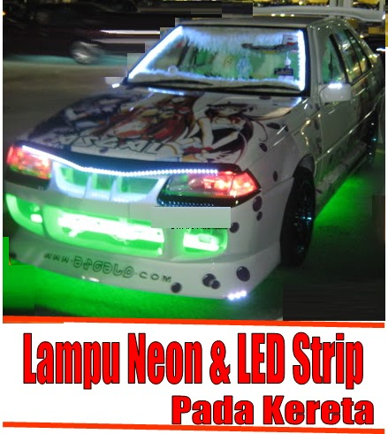 Fire Starting Automobil Diy Lampu Neon Led Strip Pada Kereta