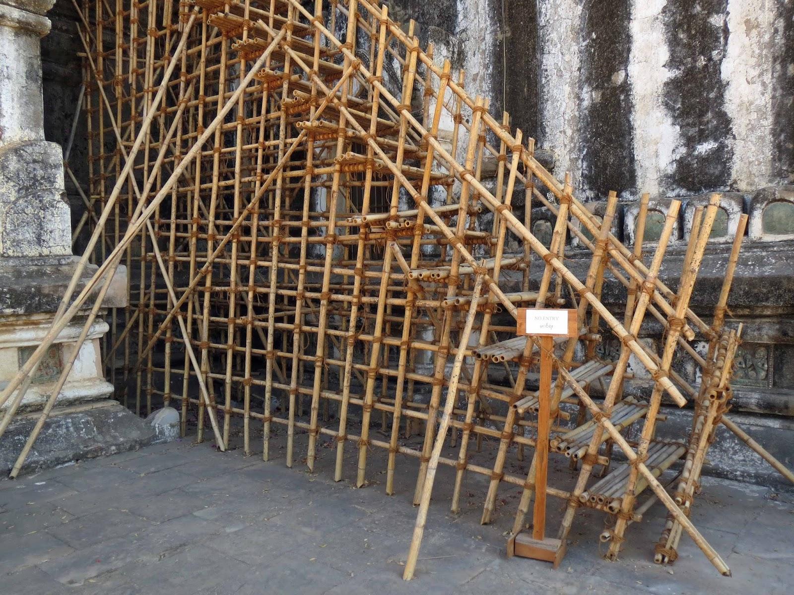 Temporary Bamboo Staircase   Myanmar
