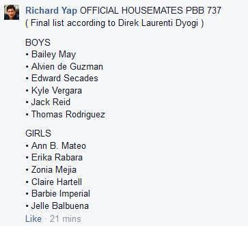 Official Housemates PBB 737 rumor