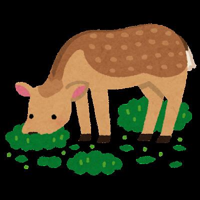 シカの食害のイラスト(畑)