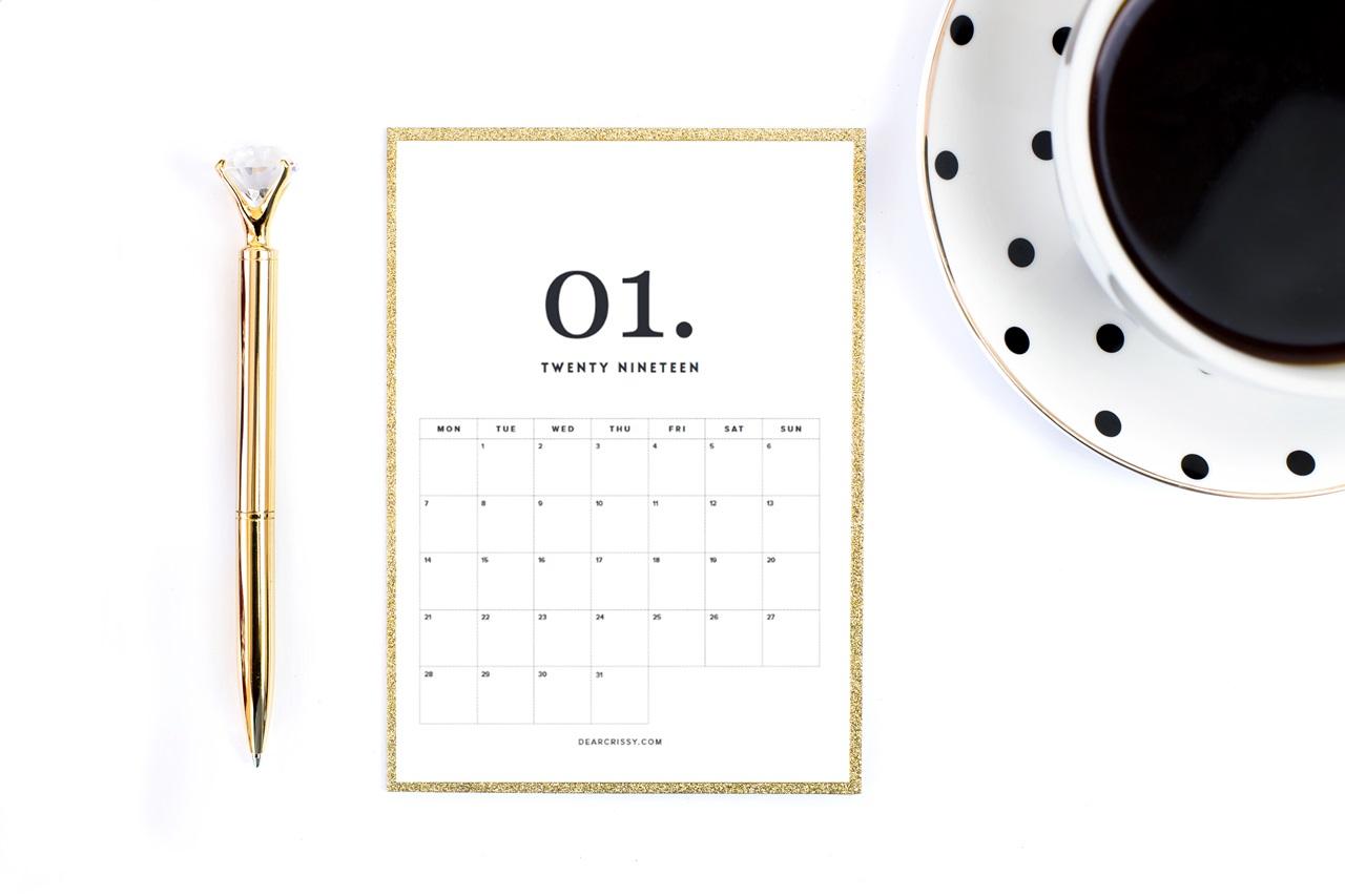 minimalistyczny planer 2019 / kalendarz 2019 do druku do pobrania za darmo
