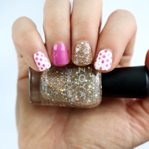 Zoya Bar Pixie Dust - Pink and Gold Glitter Spring Nail Art - Tori's Pretty Things Blog