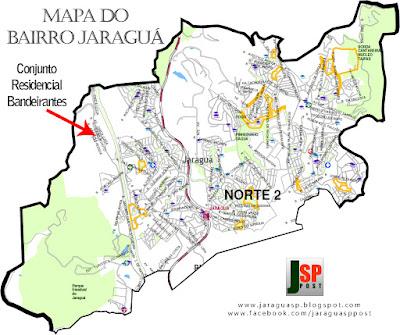 Posição do Conjunto Residencial Bandeirantes dentro do bairro Jaraguá