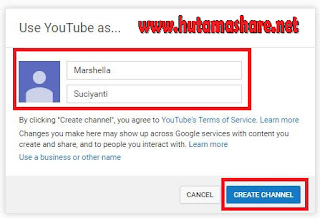 Halaman Create Channel Youtube