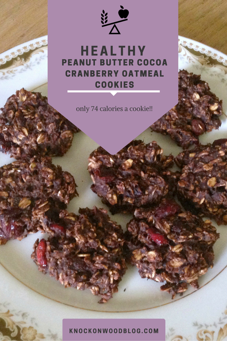Healthy Peanut Butter Cocoa Cranberry Oatmeal Cookies