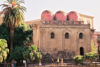 The church of San Cataldo in Palermo with its mix of Norman and Arabic architectural styles