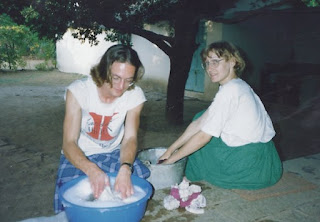 Joanne and David doing laundry in Pune