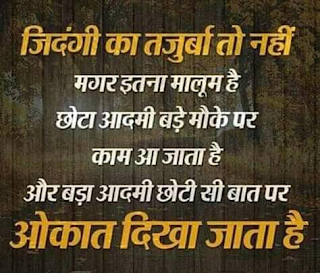 Hindi Shayari Collection | Mujhe zindagi ka tajurba to nahi magar itna malum hai, Chhota Insaan Bade mauke par bahot kaam aata hai...!!