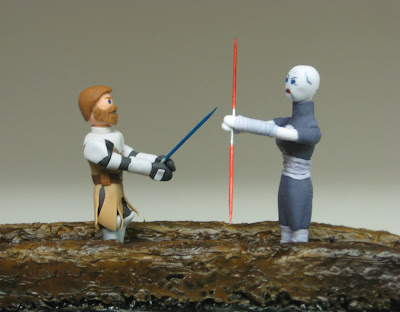 Star Wars: The Clone Wars Themed Cake - Obi-Wan Kenobi & Asajj Ventress Duel - Close Up Fondant Figures