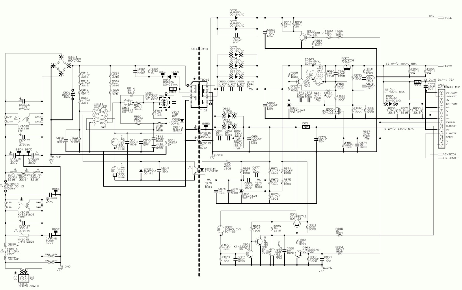 toshiba 39l2300 toshiba 32l2300 smps circuit diagram power supply  [ 1600 x 1004 Pixel ]