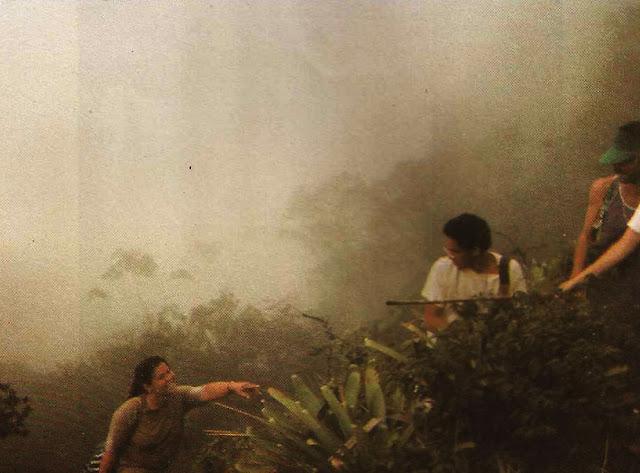 Foto 10 - Flagrante de um dos momentos mais difíceis da subida ao Mestre Álvaro: dentro da nuvem, terreno molhado e escorregadio, os excursionistas se ajudam para vencer os obstáculos. Foto do autor, outubro de 1989.