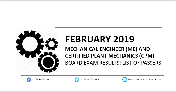RESULTS: February 2019 Mechanical Engineer ME, CPM board exam list of passers