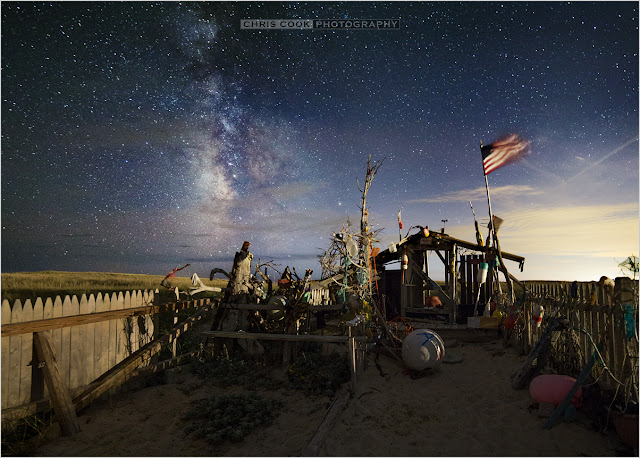 Cape Cod wedding blog photo from Chris Cook Photography about South Beach dune shack under the Milky Way