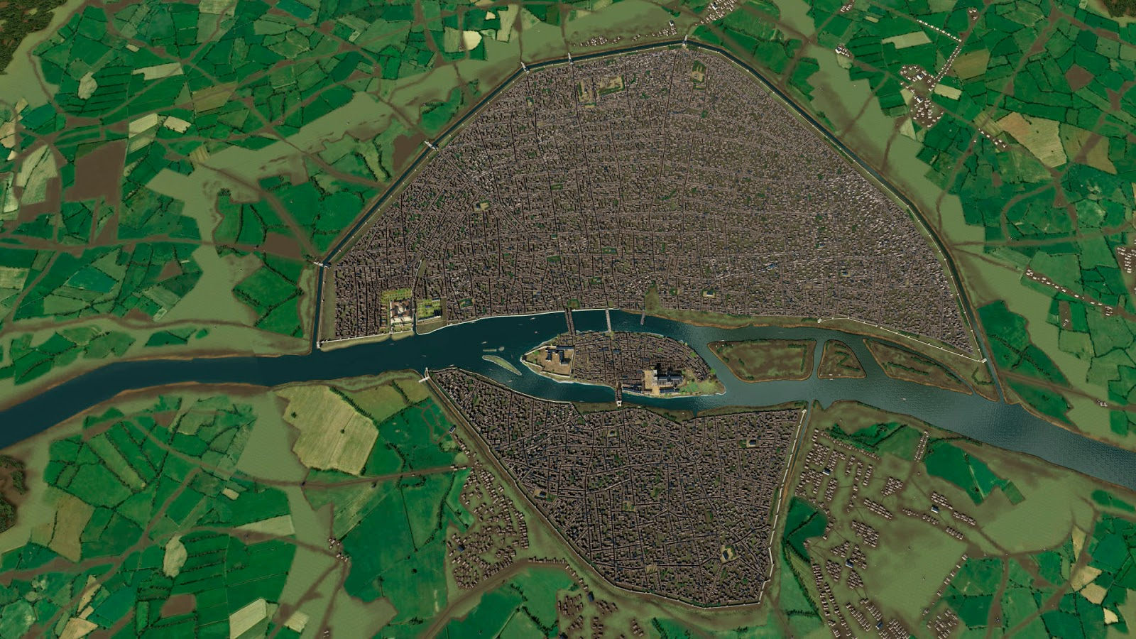 Overhead map from a 3D reconstruction of medieval Paris