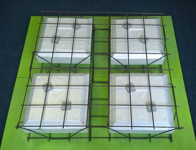 Mô hình thật Coffa xốp trong tạo rỗng + Cốt thép 3D = Panel 3D