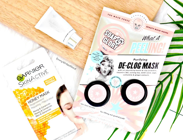 skincare for breakout prone combination skin types, soap and glory what a peeling face mask, garnier honey mask, glamglow supermud mask
