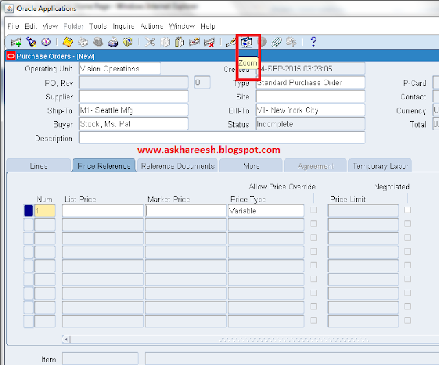 How To enable ZOOM trigger In Oracle Apps, askhareesh blog for Oracle Apps