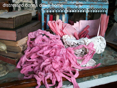 Rit Rose Pink dye, quick makeovers, tags, ribbons, clothes pins, book pages