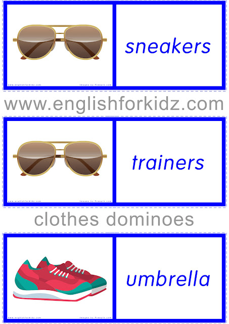 Printable ESL game -- clothes and accessories domino