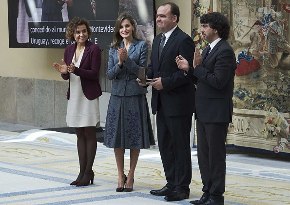 Queen Letizia wore Felipe Varela skirtsuit and Prada shoes at Council of the Royal Board on Disability meeting